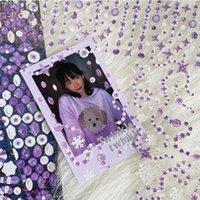 Posiadacze karty Kawaii Laser Koralik Pet Naklejki bez Korzystanie z Non-Trace Glittery Decoration Material Girl Diy Telefon komórkowy Shell Laptop