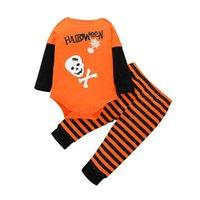 Infant Clothing Sets Boys Suits Baby Clothes Toddler Outfits Autumn Winter Long Sleeve Cotton Letter Pumpkin Striped Romper Pants 2Pcs B8265