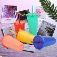 Mugs 1Pc Reusable Color Changing Cold Cups Plastic Tumbler With Lid Cup 24 Oz Summer Collection Drinkware