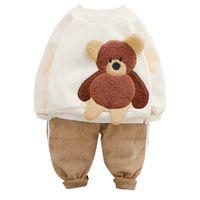 Moda Bebek Giyim Setleri Kış Yürüyor Bebek Yenidoğan Giyim Kız Erkek Giyim Setleri Karikatür Ayı Çocuk Çocuk Peluş Pantolon 786 V2 Tops