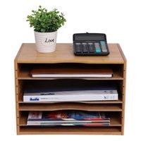 Socorro de arquivo de mesa multi organizador função carta de correio de correio de correio de correio classificação 4 estantes ajustáveis Home escritório de madeira natural