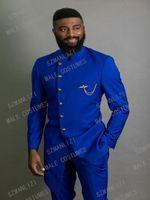 Clássico design real azul homens macio fita fita fita para homens noivo tuxedo desgaste africano homem blazers blazers