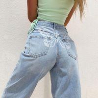 Women's Jeans Butterfly Print High Waist Loose Wide Leg Pants Y2K Mom Boyfriend Denim Capris Straight Trousers Oversize