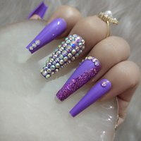 2021 New luxury Jewelry Super long Ballet coffin fake Nail Crystal full of drill Purple Flash drill