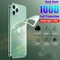 100d traseiro tampa de filme de hidrogel protetora para iphone 11 pro 6 6 s 8 7 plus xr x xs max protetor de tela cheia filme macio não vidro