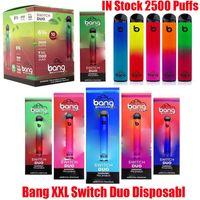 Bang XXL Switch Duo Disposable Device Kit E-cigarettes 2 In 1 2500 Puffs 1100mAh Battery 7ml Prefilled Cartridge Pods Vape Stick Pen Vs PRO MAX Air Bar Lux Plus