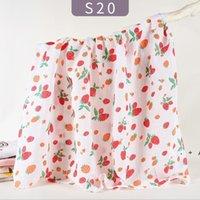 الرضع Swaddling القماش الطفل بطانية مطبوعة حمام منشفة مزدوجة الطبقات الشاش المجمع الكرتون الوليد عربة يغطي البحر EWC7386