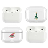 Christmas Gift For Apple AirPods Air Pods Pro AirPodsPro Earphone Glossy Case Santa Claus Deer Tree Ultra Thin Hard PC Cover Clear Protect Shell