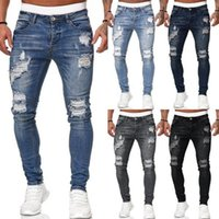 Mens Cool Designer Brand Pencil Jeans Skinny Ripped Destroyed Stretch Slim Fit Hop Hop Pants With Holes For Men Printed Jean