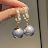 New Fashion Korean Oversized White Pearl Drop Earrings For Women Elegant Wedding Jewelry Gift