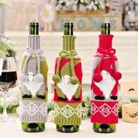 Boże Narodzenie Wino Butelka Pokrywa Gnome Snowflake Szampański Sweter Dzianiny Xmas Home Nowy Rok Party Decoration Dwb10645