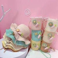 Mädchen Mützen Kinder Hüte Eimer Taschen Geldbörse 2 STÜCKE Sätze Baby Kinder Sommer Blume Prinzessin Gras Geflecht Cowboy Beach Zubehör 3-6Y B4869