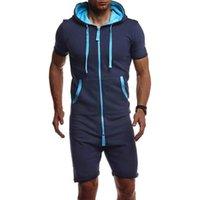 Pantalon pour hommes 2021 hommes d'été Hommes courtes saute de la fermeture à glissière à capuche Solide Homme Solide Tracksuit Ensembles d'une seule pièce Fashion Sportwear