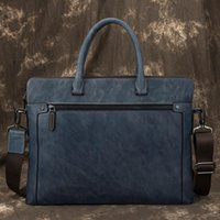 Luuan Navy Blue Men Male Briefcase Bag Real Leather Inch Leather Shoulder Work Cow Vintage15.6 Laptop Male Business Handbag Tote Tqwhd