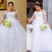 African Plus Size Bridal Gowns Ball Gown Wedding Dresses Lace Applique Long Sleeve Simple Sweep Train Custom Made