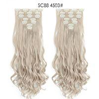 7 pçs / set 130g clipe sintético em no cabelo extensão rabo de cavalo 22inch encaracolado de alta temperatura fibra peleiros mais cores opcionais