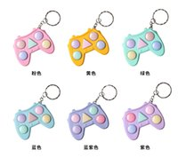 Key Rings Decompression Handle Push Bubble Toy Keychain Anti Stress Relief Hand Squeeze Simple Toys Mixed Color