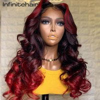Lace Wigs Burgundy Highlight 13*1 T Part Front Wig Red Colored Deep Middle Parting Human Hair Pre Plucked For Black Women