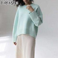 Foryunshes свитера для женщин мода свободно случайные вязаные пуловеры сплошные с длинным рукавом осень зима ретро джемпер женщина свитера LJ201112