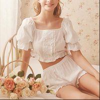 Stringy Selvedge Tops Pumpkin Shorts Women Sleepwear Two pieces Princess Pajama Sets.Lolita Nightgown Pajamas Suit.Sleepwear Loungewear