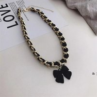 Bowknot Shopers Curto Intersperted com corda de couro de cadeia larga Acessórios elegantes Colar de jóias BWD6438