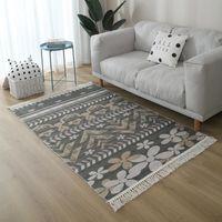Carpets Nordic Linen Cotton Carpet Moroccan Floor Mat Bohemian Living Room Woven Rug Bedroom Bedside Tassel Prayer Persian