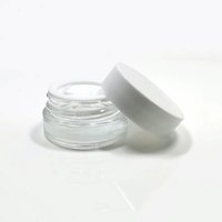 5g Cosmetic Jars Cream Container Clear Frosted Glass Jar Bottle with White Lids PP Inner Cover for Face Hand Cream