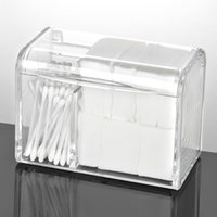 Dustproof Cotton Pads Storage Box Transparent Acrylic Bathroom Organizer Tabletop Cosmetic Swabs Containers with Lid Waterproof