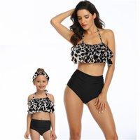 Kadın Çocuk Bikini Setleri Iki Parça Yüzmek Suits Yüksek Bel Halter Boyun Anne Kızı Yüzme Setleri Yaz Plaj Havuz Tankı Suits