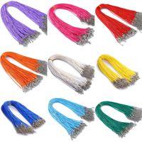 10 unids / lote 1.5 mm Cadena de cuero Cadenas Collar Colgante Charms con cierre de langosta DIY Joyería Haciendo hallazgos Cuerda de cadena 1862 Q2