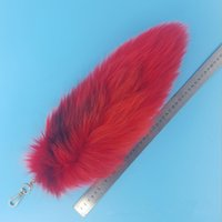 مفتاح سحر أحمر مصبوغ فوكس الذيل سلسلة المفاتيح حقيبة حقيبة العلامة ريال فوكس الفراء الدافئة مشرق اللون تأثيري asscessory كل سعر كامل A81