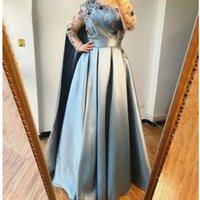 Fancy Arabic Prom Dresses With Wraps 3D flower Ruched Long Sleeve Dubai Evening Gown 2021 Floor Length Satin Women Formal robes de soirée mariage