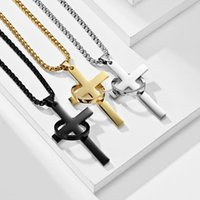 Pendant Necklaces Classic Simple Design 3 Colors Plated Stainless Steel Cross Necklace For Men Fashion Male Hip Hop Jewelry