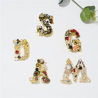 Kimter Fashion Rhinestone Alphabet Brooches Pearl Letter Buttons Brooch Personalized Crystal Pins for Clothes Christmas Decoration K130FA