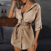 Otoño Mujeres elegantes Vestido de manga larga sólida Botón de metal con cinturón de algodón con cuello de torneado Oficina femenina 11963 210510
