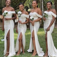 2021 Bridesmaid Dress Ivory Dresses Off The Shoulder Sweep Train Mermaid With Zipper Back Wedding Party