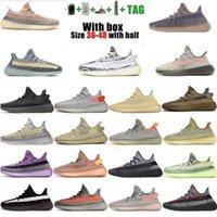 Kanye Correndo Sapatos Estáticos Preto Refeitório Ash Azul Israfil Cinder Deserto Sábio Terra Terra Luz Luz Zebra Mulheres Homens Treinadores Tamanho 36-48 com metade