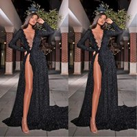 Arabic Dubai Black Sequined A Line Evening Dresses Sheer Neck Glitter Long Sleeve Party Gowns Red Carpet Fashion Prom Quinceanera Dress