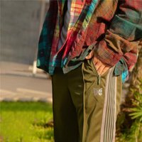 الإبر sweatpants رمادي الرجال امرأة ركض فراشة التطريز السراويل 20FW السراويل الرجال