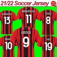 ميلان # 9 Giroud # 11 Ibrahimovic Soccer Jerseys 2021/2022 # 10 Calhanoglu # 13 Romagnoli Home Soccer Shirts 21/22 # 7 S.Castillejo الرجال رجال كرة القدم تخصيص