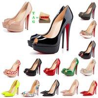 Mujer fondos rojos tacones altos plataforma Peep-Toes Sandalias Diseñadores Sexy Punta puntiaguda Reds Sole 8cm 10 cm 12 cm bombas Lujos de lujo para mujer