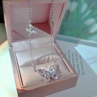 Ciondolo a farfalla asimmetrica elegante di lusso 925 collane in argento sterling 925 per donne retrò maglione cristallo maglione catena corta