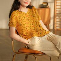 Verão do vintage das mulheres de Johnature t - shirts Manga curta Solta 2021 roupas casuais Tops geométricos femininos T-shirt das mulheres