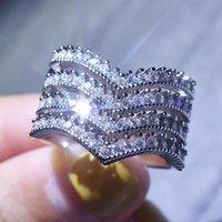 Arrow multi слоистые кольца для женщин Zircon Diamonds белый серебристый цвет свадебный участок группа партия Bling праздник ювелирных изделий монако кластер