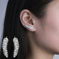 Le donne di lusso foglie full cubic zirconia zirconia inlaider orecchio scalatori crawler carini orecchini coreano moda gioielli gioielli orecchino dropship