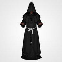 Halloween Hombres adultos Monjes medievales Monje Robe Disfraz Vestido Asistente Ropa Cristiano Pastor Conjunto completo Ropa al Por Mayor
