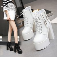 Luxury Dress Shoes 14cm White Super High Short Muffin Waterproof Platform Lace Up Women's Sho Show Thick Heel Martin Boots