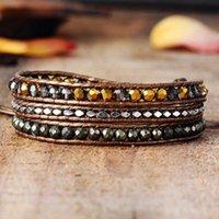 Tennis Leather Woven Bracelet Crystal Pyrite 3 Times Wrap Bracelets Beads Armband Beadwork Jewelry Wholesale