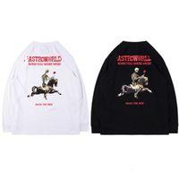 Sudaderas con capucha para hombres Diseñador de calle de moda Astroworld Cráneo Impresión Negro Blanco Flojo Pullover Spring Otoño Invierno Sudadera masculina