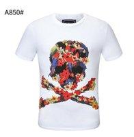 Skull Dollar Fashion Hommes T-shirt Été Basic Solide Crystal Imprimer Lettre Casual Punk Tops Tee Femmes Vêtements Sleeve Courte M-3XL